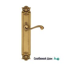 """Дверная ручка Venezia """"VIVALDI"""" на планке PL97 французское золото + коричневый"""