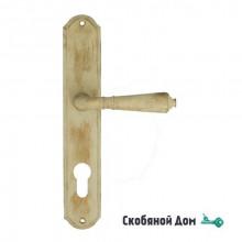 """Дверная ручка Venezia ART """"VIGNOLE"""" CYL на планке PL02 слоновая кость + медь"""
