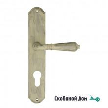 """Дверная ручка Venezia ART """"VIGNOLE"""" CYL на планке PL02 слоновая кость + серебро"""