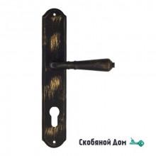 "Дверная ручка Venezia ART ""VIGNOLE"" CYL на планке PL02 черная + золото"