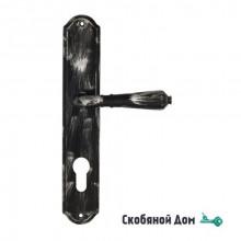 """Дверная ручка Venezia ART """"VIGNOLE"""" CYL на планке PL02 черная + серебро"""
