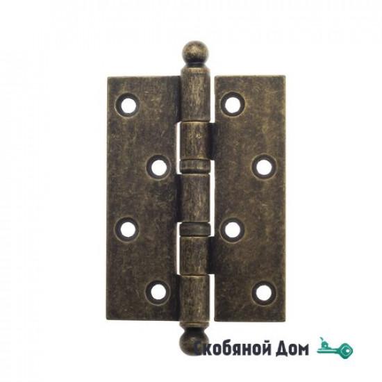 Дверная петля универсальная латунная с круглым колпачком Venezia CRS010 102x76x3 античная бронза