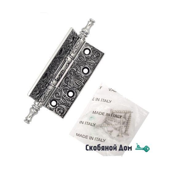 Дверная петля универсальная латунная с узором Venezia CRS011 102x76x4 полированный хром + черный