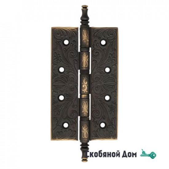 Дверная петля универсальная латунная с узором Venezia CRS012 152x89x4 темная бронза
