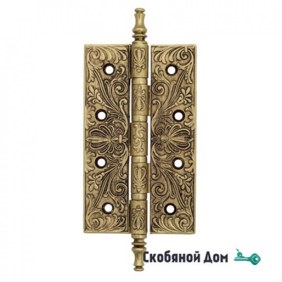 Дверная петля универсальная латунная с узором Venezia CRS012 152x89x4 французское золото +коричневый