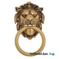 "Дверная стучалка Venezia ""LEONE"" 190x110 французское золото + коричневый"