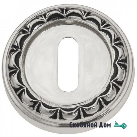 Накладка дверная под ключ буратино Venezia KEY-1 D2 натуральное серебро + черный