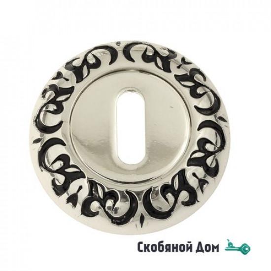 Накладка дверная под ключ буратино Venezia KEY-1 D4 натуральное серебро + черный