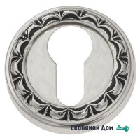 Накладка дверная под цилиндр Venezia CYL-1 D2 натуральное серебро + черный