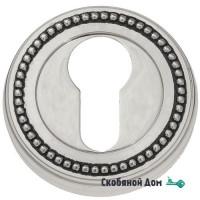 Накладка дверная под цилиндр Venezia CYL-1 D3 натуральное серебро + черный
