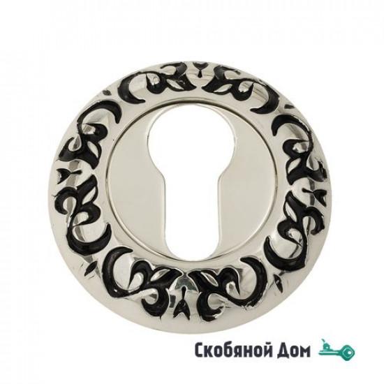 Накладка дверная под цилиндр Venezia CYL-1 D4 натуральное серебро + черный
