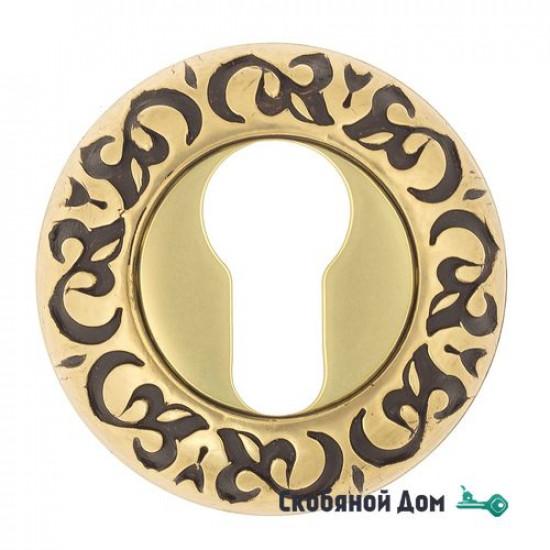 Накладка дверная под цилиндр Venezia CYL-1 D4 французское золото + коричневый