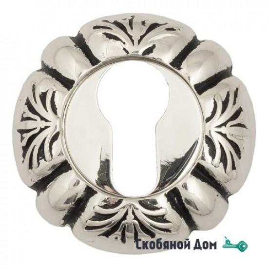 Накладка дверная под цилиндр Venezia CYL-1 D5 натуральное серебро + черный