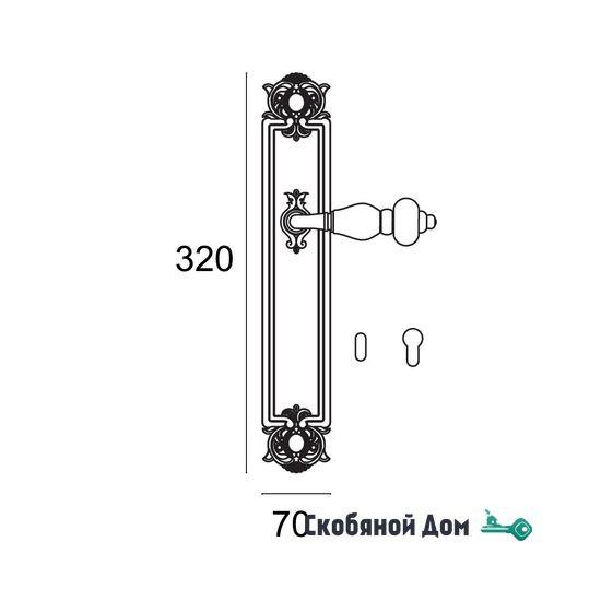 """Ручка дверная Venezia """"FENICE"""" CYL на планке PL92 натуральное серебро + черный"""