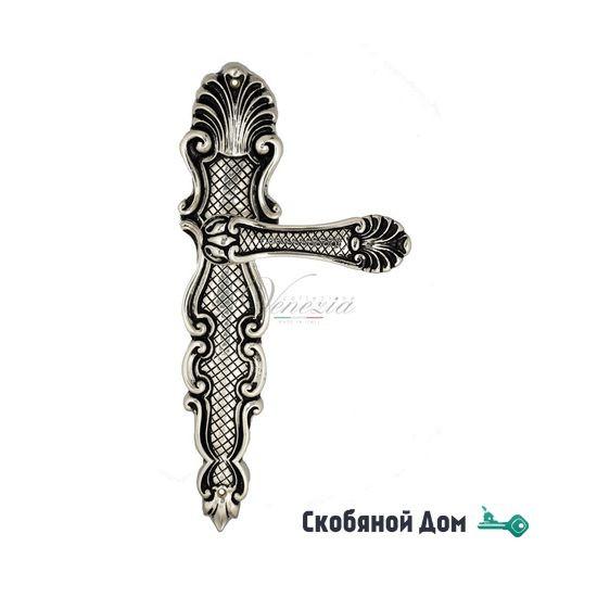 """Ручка дверная Venezia """"FENICE"""" на планке PL92 натуральное серебро + черный"""