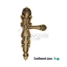 """Ручка дверная Venezia """"FENICE"""" на планке PL92 французское золото + коричневый"""