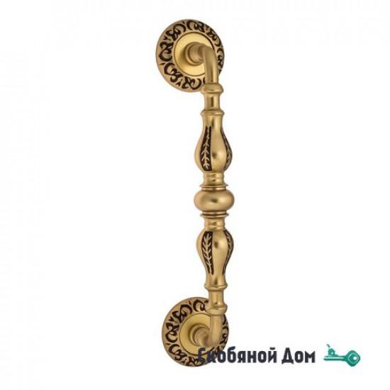 """Ручка скоба Venezia """"GIFESTION"""" 290мм (230мм) D4 французское золото + коричневый"""