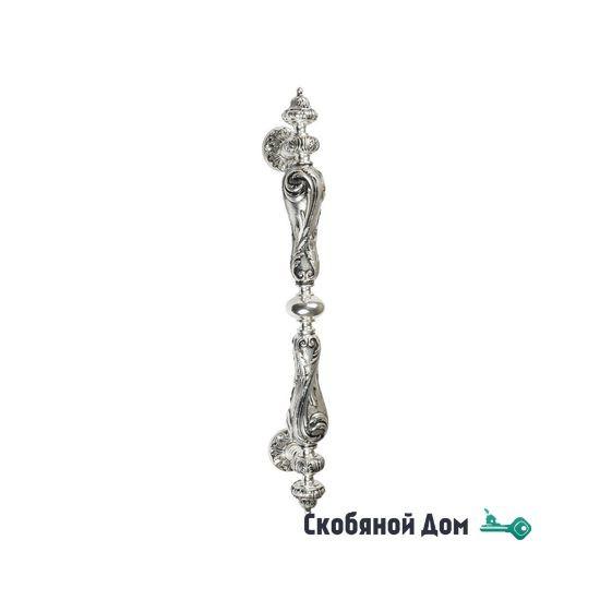 """Ручка скоба Venezia """"MARGHERITA"""" 625мм (465мм) натуральное серебро + черный"""