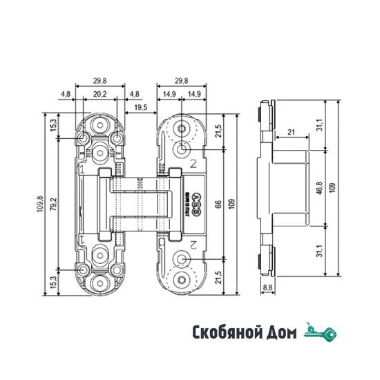 E30200.03.34Петля скрытой установки AGB ECLIPSE 2.0 (матовый хром) + комплект накладок