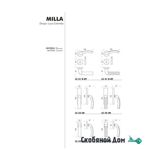 Дверная ручка на круглом основании COLOMBO Milla LC31 RSB полированный хром / матовый хром