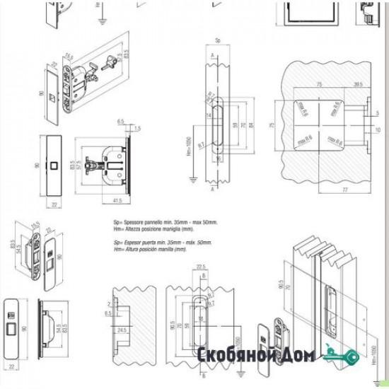 Ручка KUADRA Q 100 CS без замка для раздвижной двери, цвет Матовый хром
