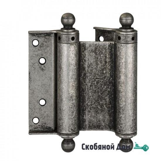 100FA075 Дверная петля пружинная с пешкой ALDEGHI 75x28x34 мм античное серебро