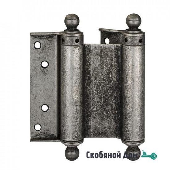 100FA125 Дверная петля пружинная с пешкой ALDEGHI 126x42x48 мм античное серебро