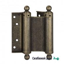100OA125 Дверная петля пружинная с пешкой ALDEGHI 126x42x48 мм античная бронза