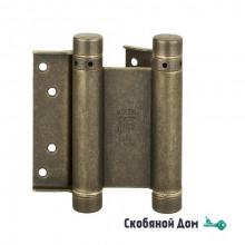 101OA075 Дверная петля пружинная ALDEGHI 75x28x34 мм античная бронза