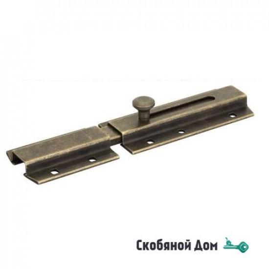261OA15 Задвижка дверная усиленная, плоский ригель ALDEGHI 150мм античная бронза