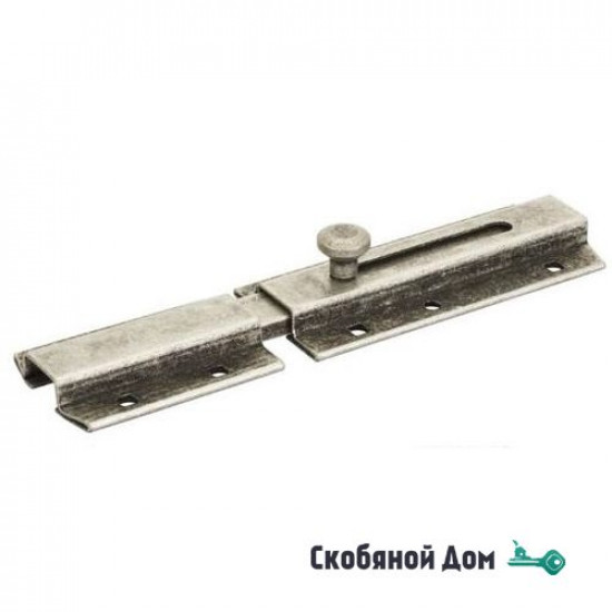 261FA20 Задвижка дверная усиленная, плоский ригель ALDEGHI 200мм античное серебро