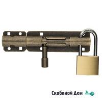 263OA20_A Задвижка дверная, с отверствием для навесного замка, пружина ALDEGHI 200мм античная бронза