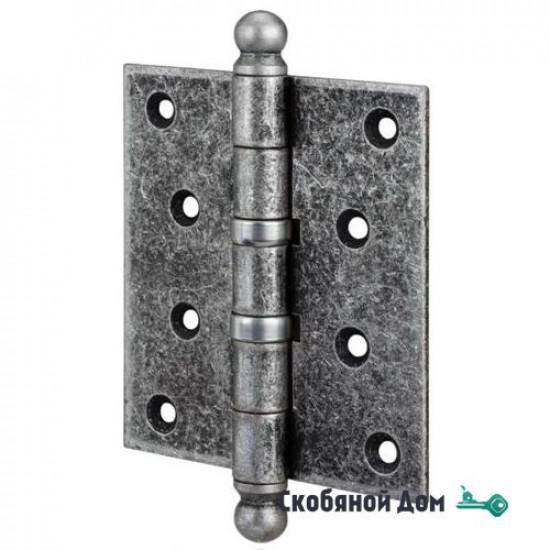136FA403 Петля дверная универсальная с колпачком ALDEGHI PREMIUM 102x76x3 античное серебро
